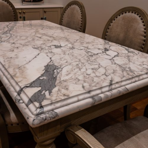 Natural Marble Stone Coffee Table Top Engineer Stone Lambs Tongue Full Bullnose Edge